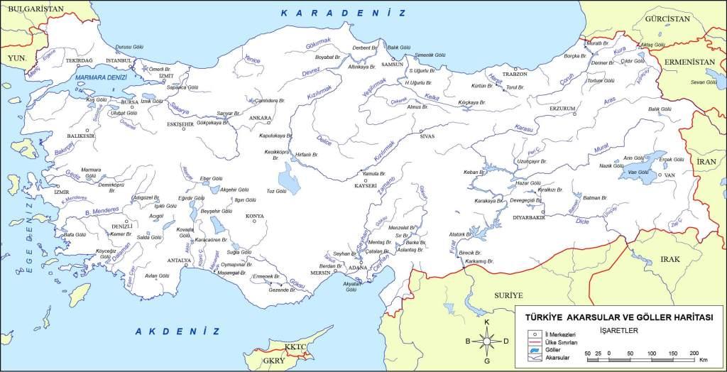 Türkiye akarsular haritası