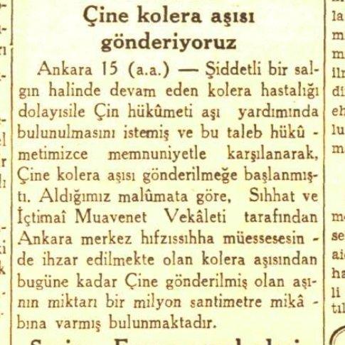 Cumhuriyet Gazetesi'nin 1938 yılında gönderilecek kolera aşısı hakkında haberi