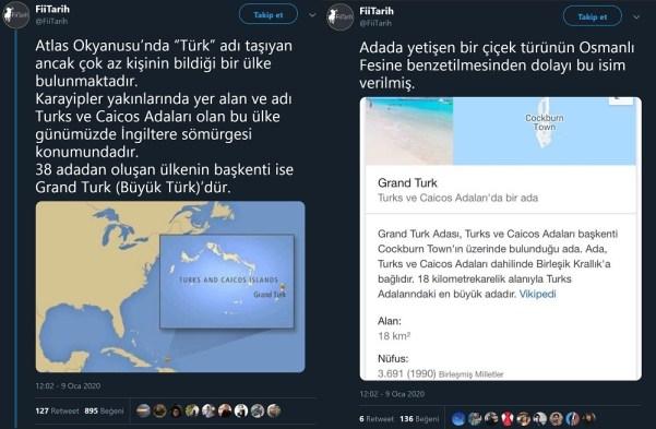 Turks ve Caicos Adalarının Fese Benzeyen Kaktüsten Esinlenerek Türk Olarak Adlandırıldığını Öne Süren Paylaşım
