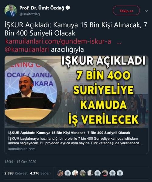 Ümit Özdağ'ın İŞKUR'un 7400 Suriyeliyi kamuya alacağı iddiasına yer verdiği paylaşımı