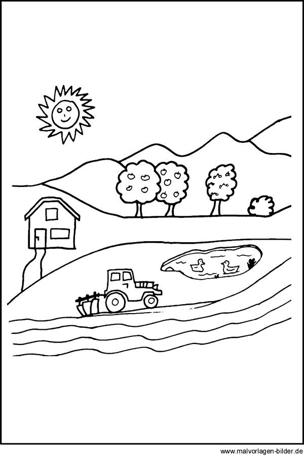 Malvorlage Bauernhof Traktor Auf Dem Feld