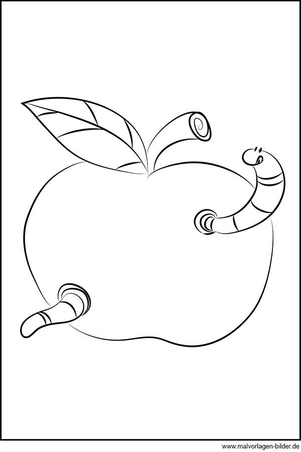 Kleiner Wurm Im Apfel Gratis Ausmalbild