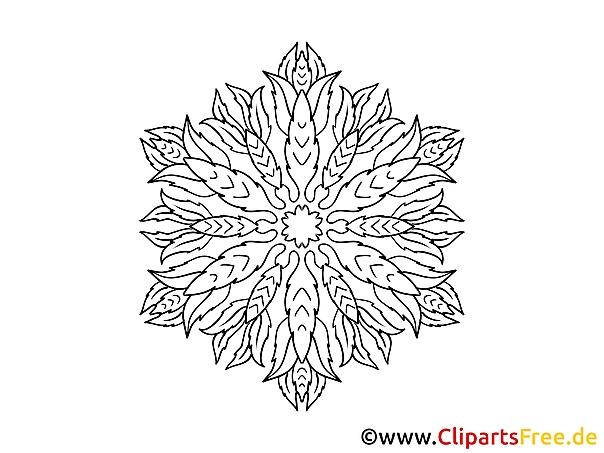 Blatt Muster Mandala Ausmalbild Gratis