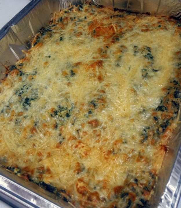 lightened up macro friendly spinach artichoke dip casserole