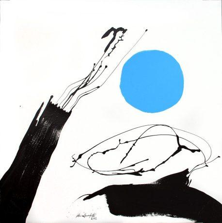 """""""Azzurro"""", 2012, smalto su tela, 107x108 cm. Crediti fotografici: Barbara Bernabei"""
