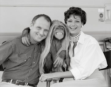 Sam McKnight with Linda Evangelista and Jesse the chimp in Los Angeles, 1992, photo by Laspata Decaro Agency