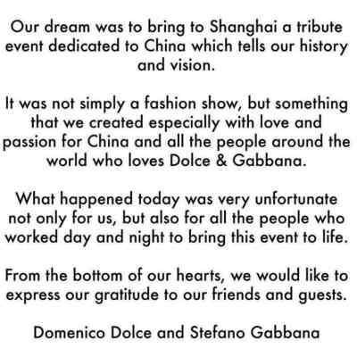 Dolce & Gabbana, crolla l'impero cinese. Comunicato stampa