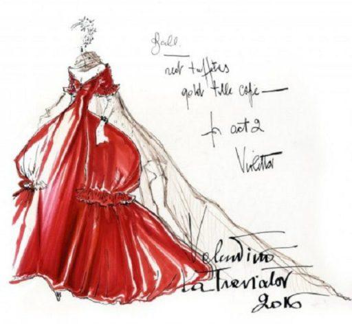 Abito in seta rossa. Bozzetto La Traviata 2016