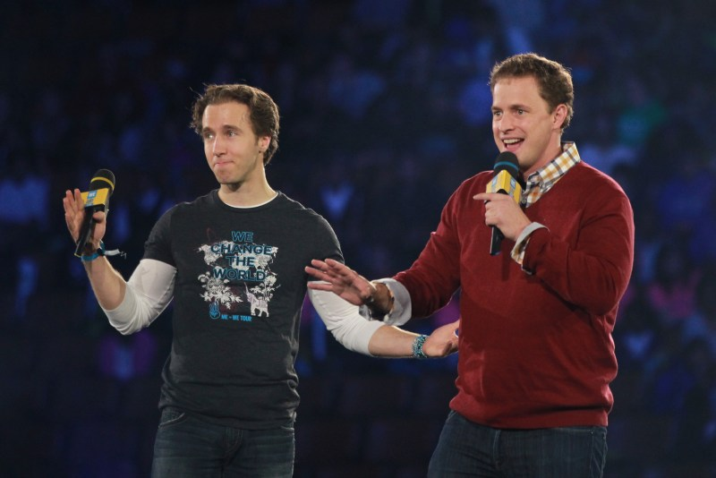 International activists and co-founders of WE Day, Craig and Marc Kielburger address 20,000 students and educators at WE Day Toronto at the Air Canada Centre on October 1, 2015. Photo Credit Chris Young/The Canadian Press