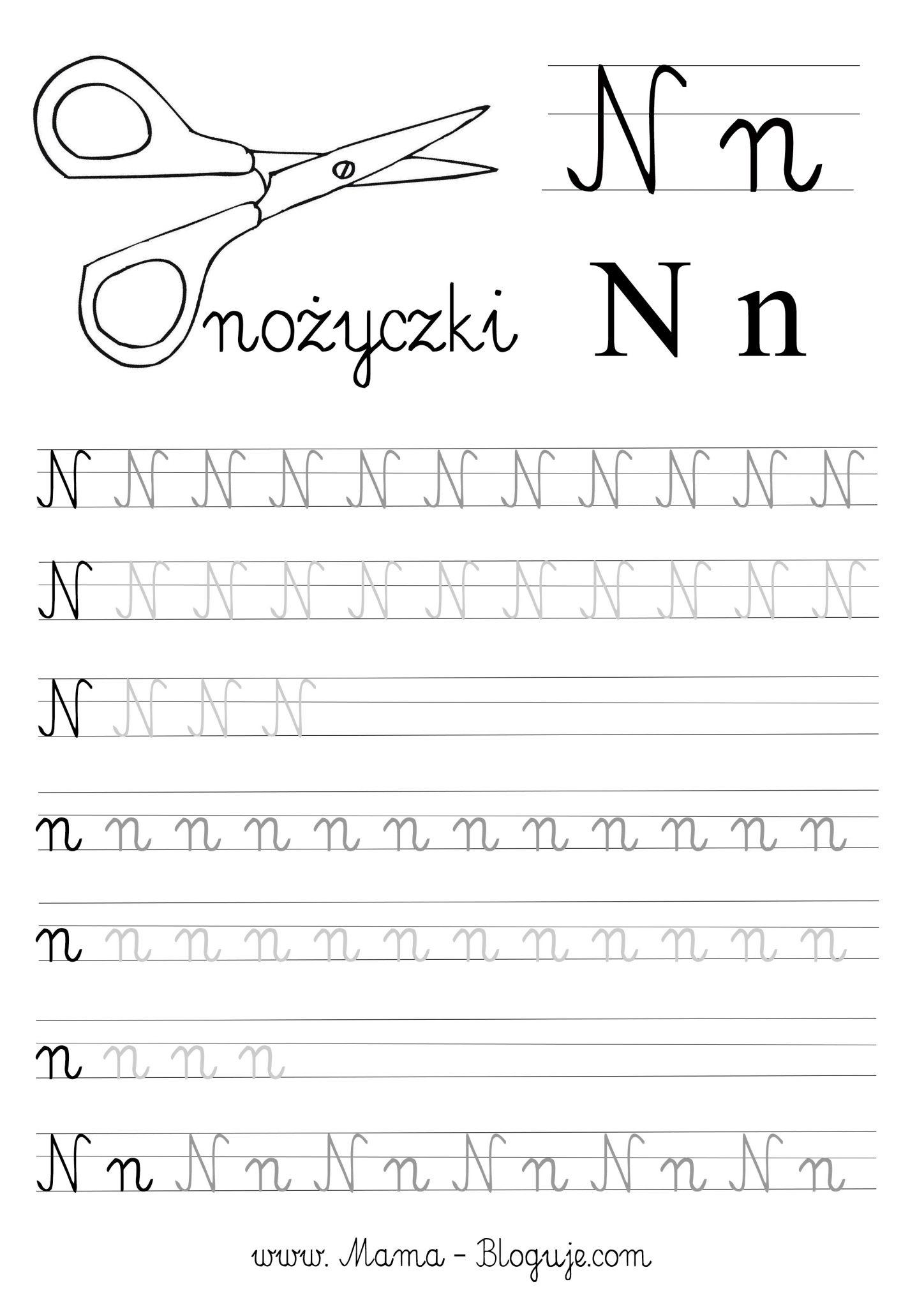 Literka n nauka pisania - SZABLONY DO NAUKI PISANIA LITER - LITERKI M - Z