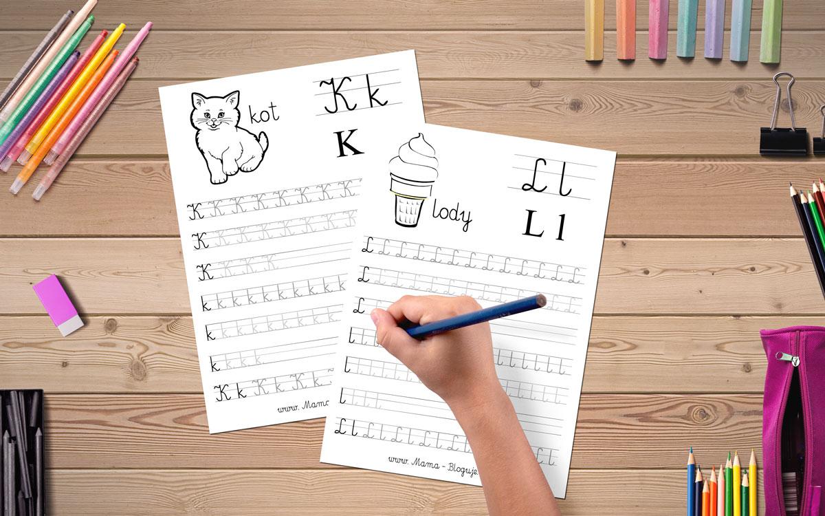karty do nauki literek - PISANIE LITEREK PO ŚLADACH - LITERKI G-L