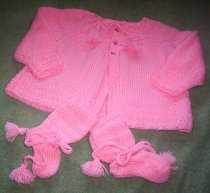Jacket and matching booties for baby girl