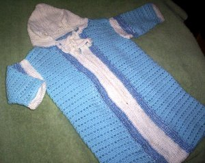 One of a kind bunting bag for baby boy