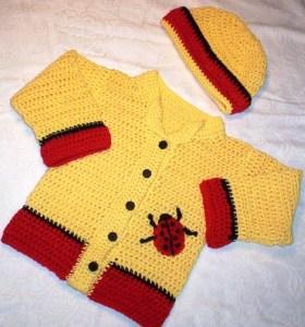 Ladybug sweater and matching bonnet