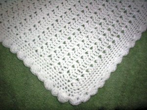 White Crotchet Baby Blanket