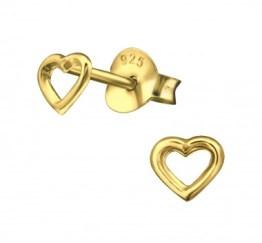 MamaBella OK0009 Heart oorbel is een kinder oorbel, gemaakt van verguld sterling silver of 925 zilver. Het is een oorbel stekertje met een hart