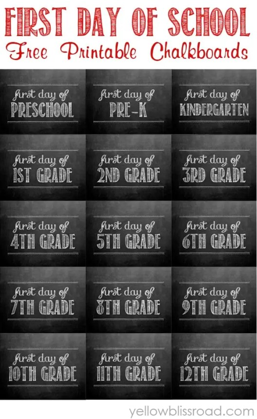 free first day of school sign printables