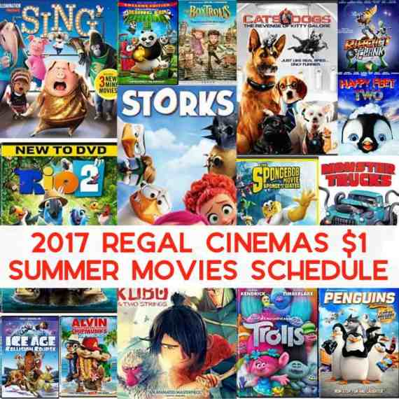 2017 Regal Cinemas $1 Summer Movies Schedule