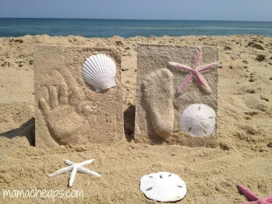 diy beach handprint footprint craft frame