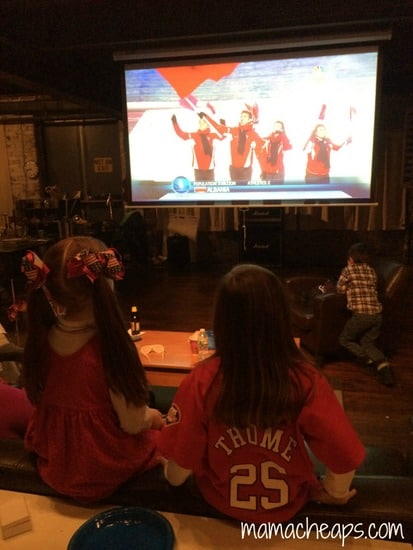 lily and grace watching winter olympics