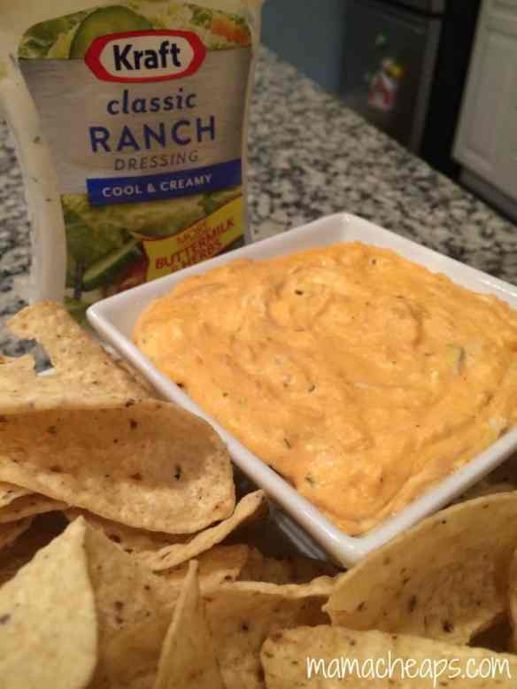 warm buffalo chicken dip with chips and kraft classic ranch dressing