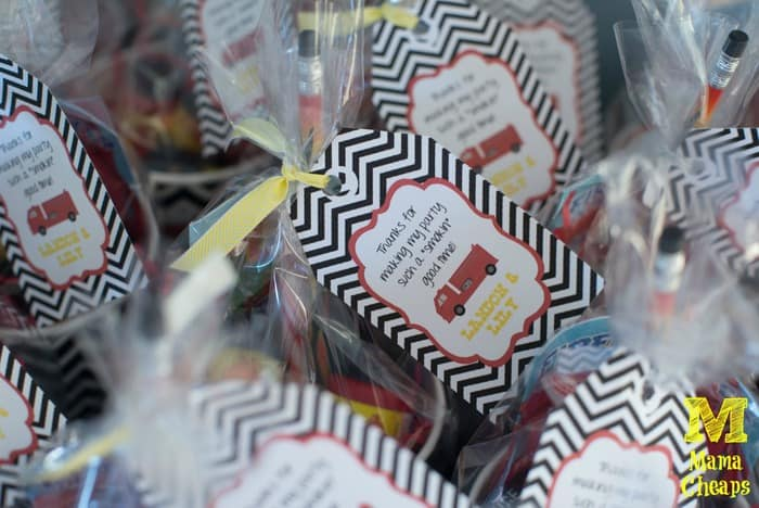fire truck birthday party favors label