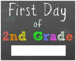 First Day of 2nd Grade Chalkboard Printable Sign