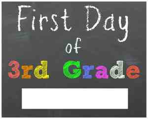 First Day of 3rd Grade Chalkboard Printable Sign