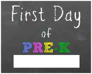 first day of pre k printable sign