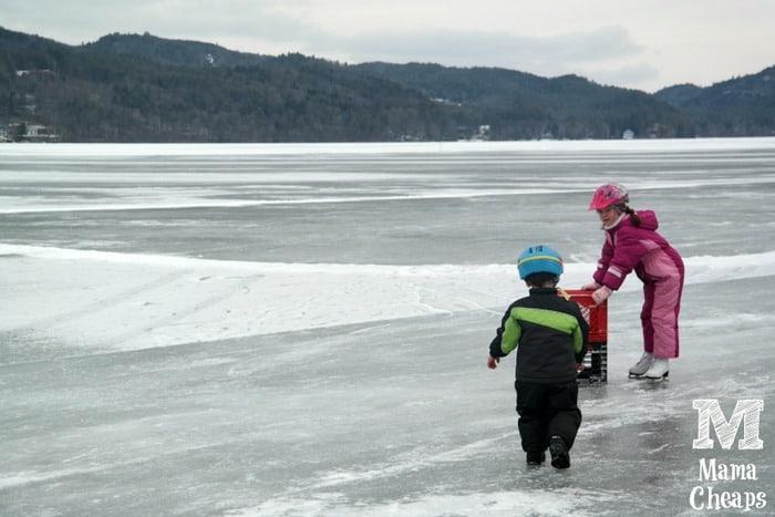 Lily and Landon Lake Morey Ice Skating