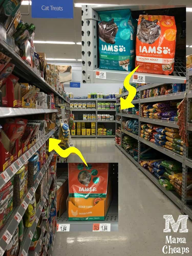 Walmart Cat Food Aisle with IAMS