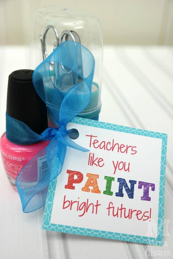 Teacher Nail Polish Gift Idea FREE Printable Tag Mama