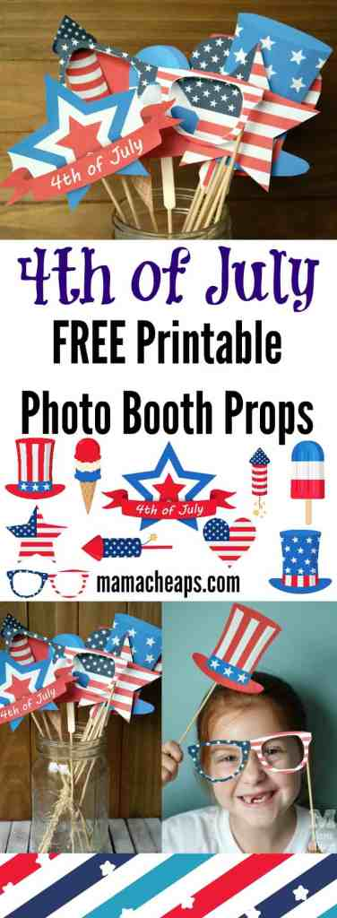 4th of July FREE Printable Photo Booth Props