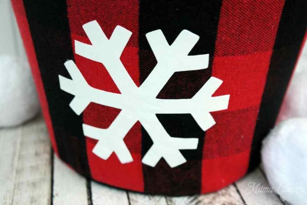 Flocked HTV Snowflake on Buffalo Check Tote
