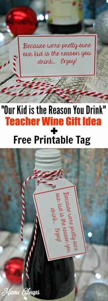 Teacher Wine Gift Free Tag