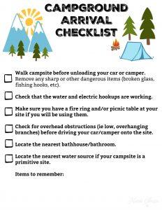 Campground Arrival Checklist