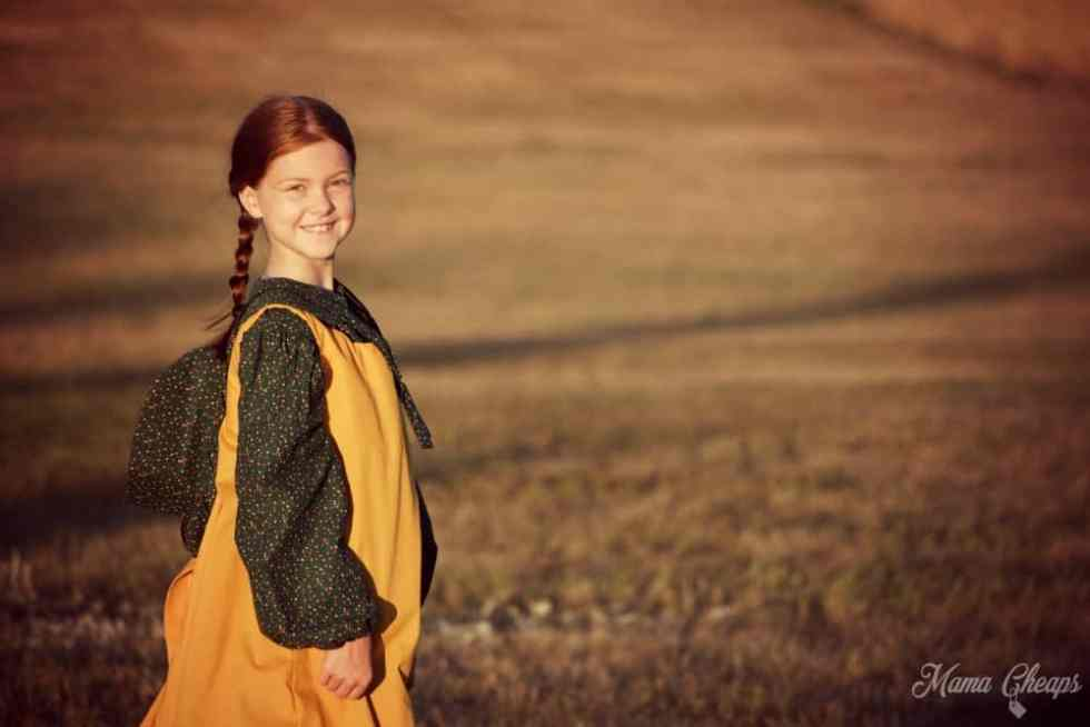 Pioneer Girl on Ingalls Homestead Sunset