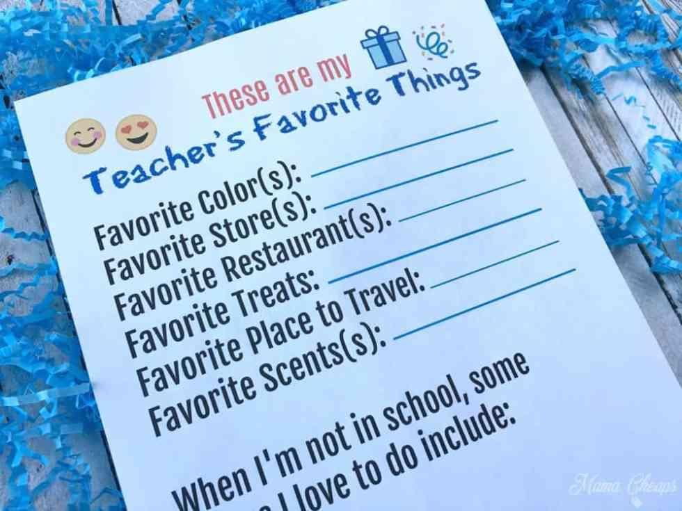 Teacher Gift Survey