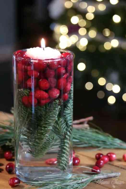 Christmas Pine Cranberry Centerpiece