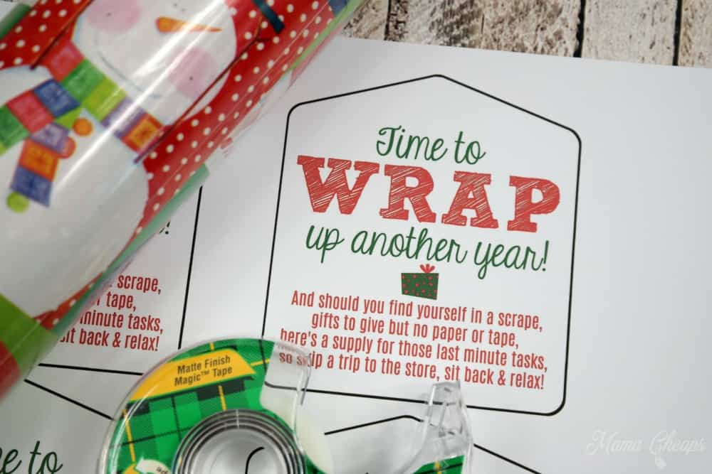 Wrapping paper tape easy last minute gift idea tag mama cheaps wrap up another year gift tag solutioingenieria Images
