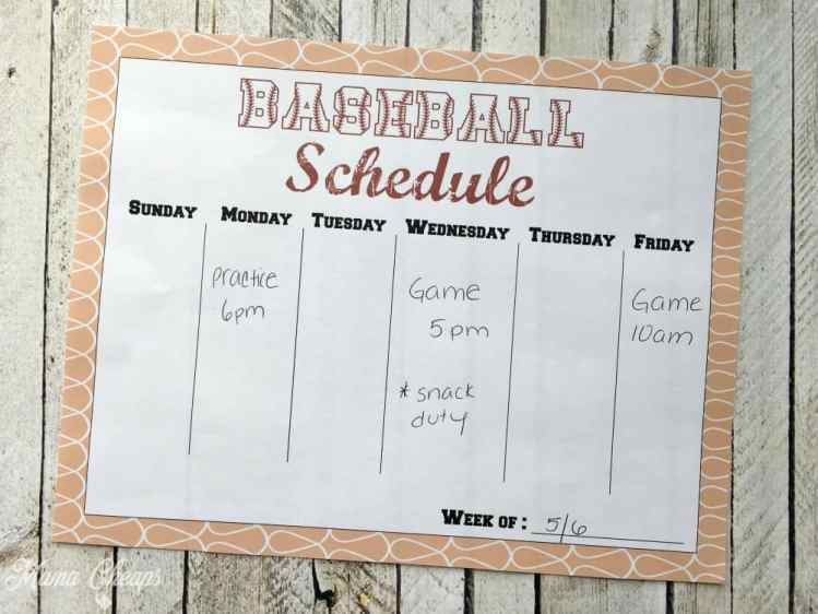 Baseball Schedule Example