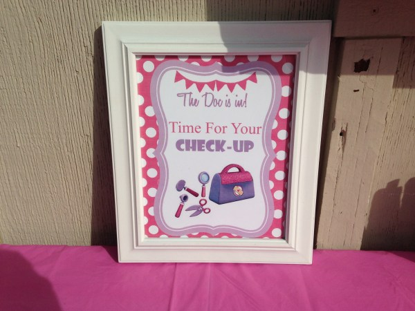 Doc McStuffins Party: Time For Your Check Up SIgn