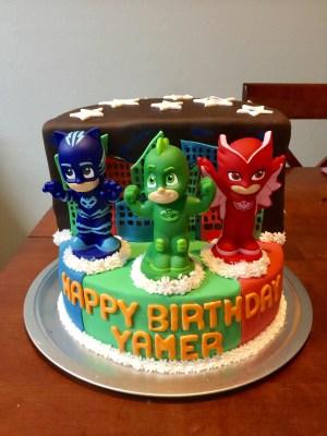 PJ Mask Aniversario bolo com personagens