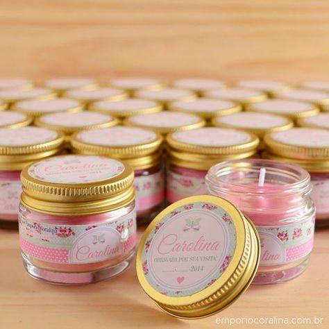 Mini velas perfumadas para lembrancinha de maternidade
