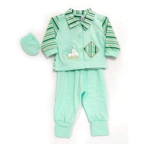 Conjunto listrado verde para bebês
