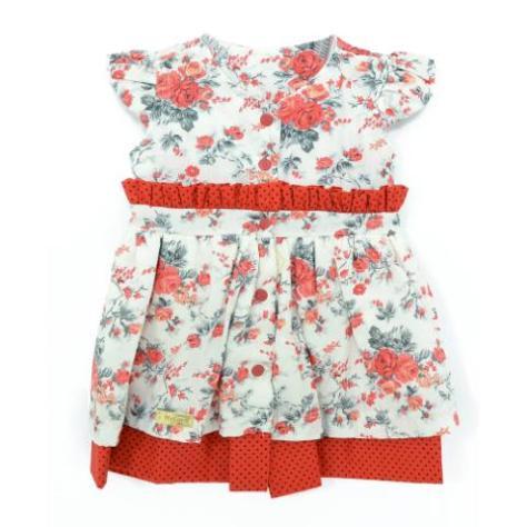 Vestido florido vermelho para bebês