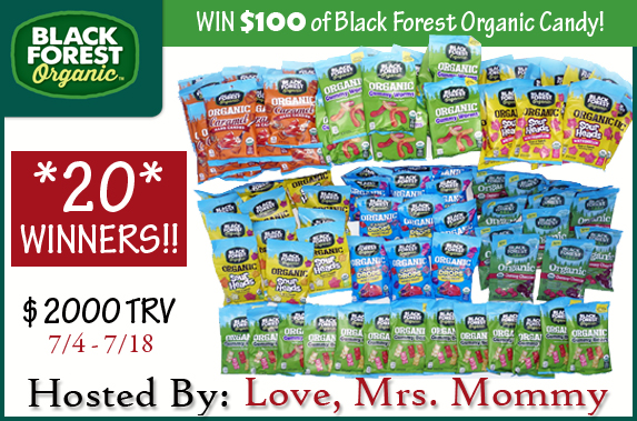 Enter to win an organic candy bundle from Black Forest Organic. 20 winners total!