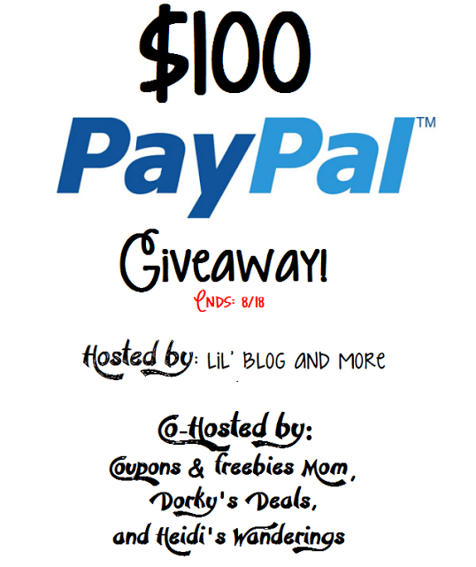 Enter to win $100 via paypal! Hosted by L'il Blog & More.
