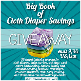 Enter to win coupons and savings to over 38 shops with the Big Book of Cloth Diaper Savings! Open until 9/30/16.