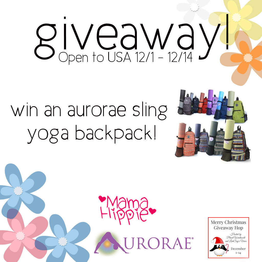 Win an Aurorae Sling Yoga Backpack! Open 12/1-12/14/16 USA only). Part of the Merry Christmas Giveaway hop.